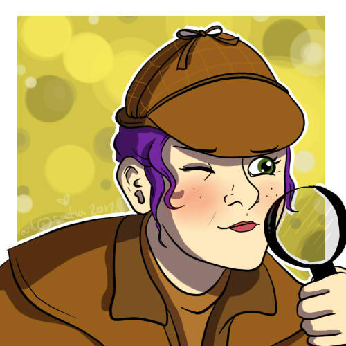 Kelly as Sherlock, by Rocky