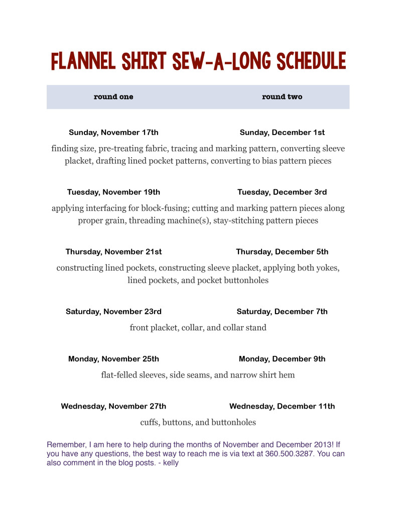 Flannel Shirt Sew-A-Long Schedule