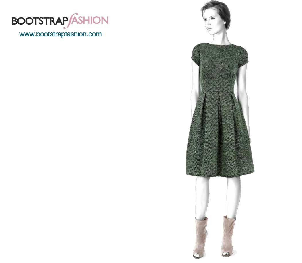 Custom-Fit Sewing Patterns - Fit And Flare Dress With Sleeves