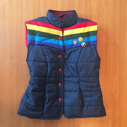 super-friendly rainbow puffer vest