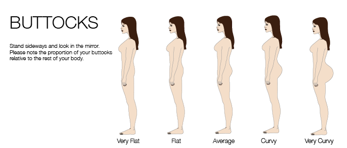 bootstrap measurement buttocks shape