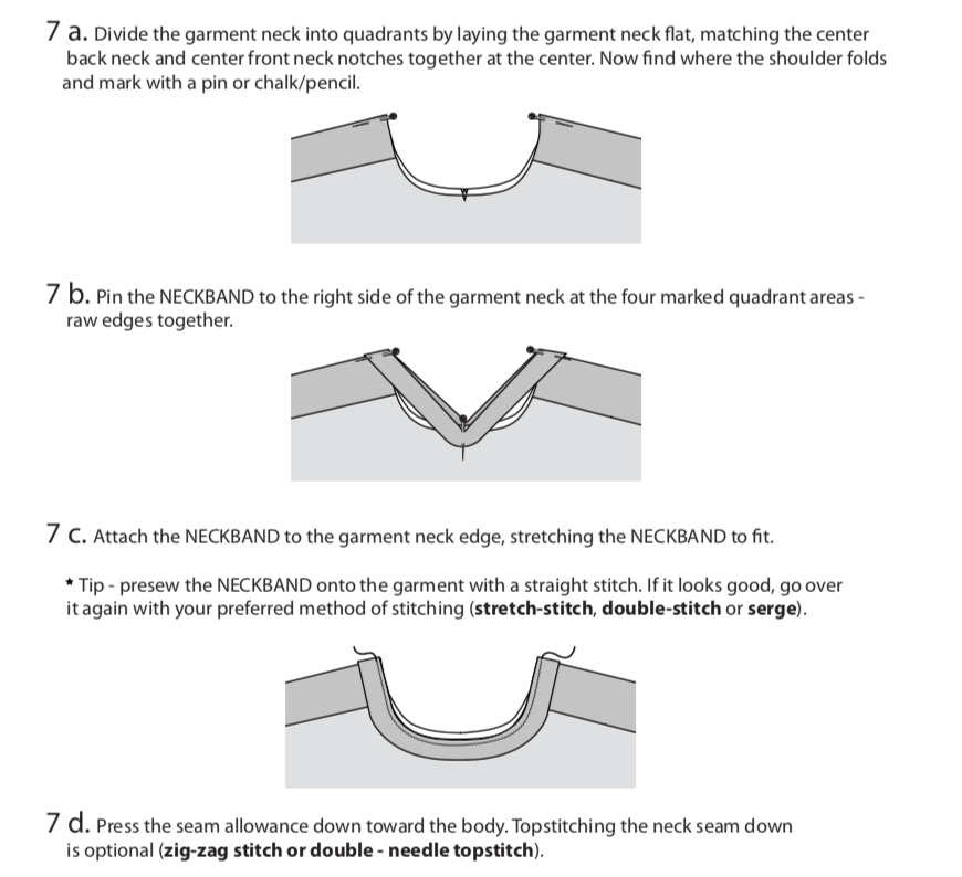 Merlo Field Tee, attaching the neckband
