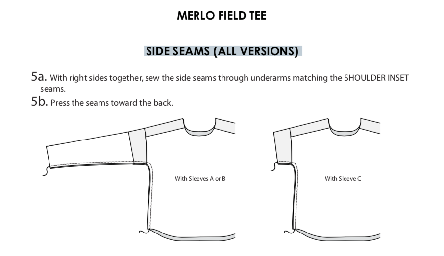 Merlo Field Tee, side seams