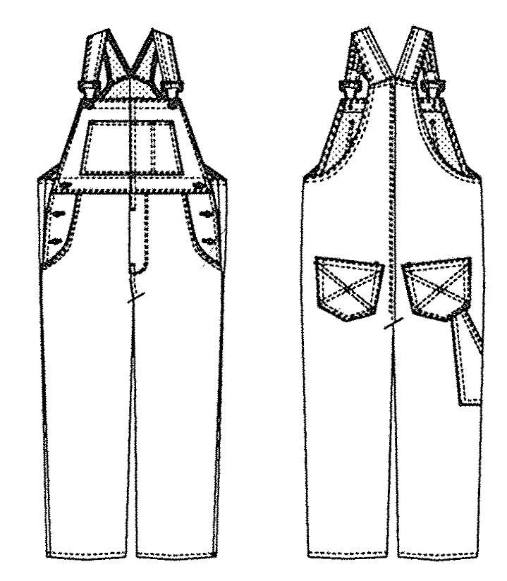 Jalie 972 Overalls (line drawing), Kelly Hogaboom / Bespoke Hogaboom